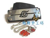 Naruto Uchiha Itachi Akatsuki Headband Ring Necklace 3 Pcs SET cosplay anti edition