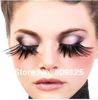 new arrive rainbow party exaggerated false eyelashes black feathers Super nice Style thick black feathers