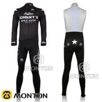 free shipping! 2011 Mellow JOHNNY'S black long sleeve cycling jersey and bib pants Kit,bike jersey,cycle long clothes