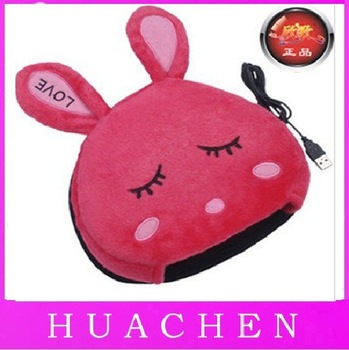 6133     Free Shipping 50pcs/lot ,USB Hand Warmer Mouse Pad - LOVE rabbit