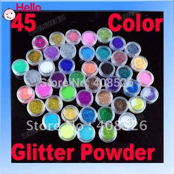 Free shipping 45 PCS Color Glitter Acrylic Powder Dust For Nail Art Tips Makeup Set 2056(China (Mainland))