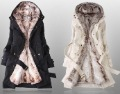 C029  Free Shipping Hot Women Faux fur lining Outerwear Winter Long Coat hooded Jacket with fur 2 colours