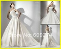 Designer 2012 Cheap Strapless Open Back Satin Ruched Wedding Dresses Ball Gown Ivory Bridal Dress Wedding Gowns