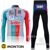 free shipping!brand 2011 lotto team cycling jersey long suit,bicycle jersey and pants,bike wear,cycle clothing