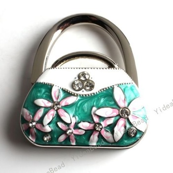 Fashion Design  Rhinestone HandBag  Hooking Folding hook Purse Hook  Foldable bag hanger High Quality 2PCS 170014