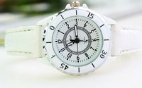 Free shipping Quartz pointer table top grade copy ceramic lady leisure belt watch business promotion gift table 144647