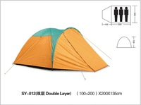 Free shipping 180T ployester PU coating waterproof 2000mm  3 person double layer camping tent
