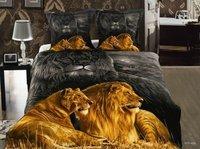 Hot Beautiful 4PC 100% COTTON COMFORTER DUVET DOONA COVER SET QUEEN / KING SIZE bedding set 4pcs GOLDEN LION