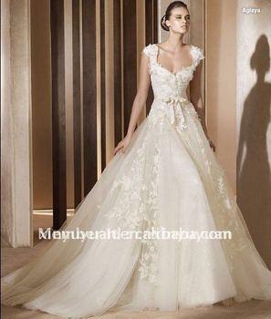 2011 Hot A Line Classic Cap Sleeve Organza Appliques Empire Train Sweetheart Gown Wedding Dress Bridal Gowns POW-236 Dresses