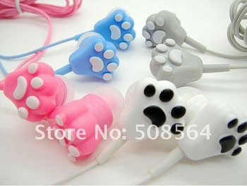 free shipping retail crazy cat claw in ear earphones bass stereo headset for ipod iphone MP3 MP4 mobile phone