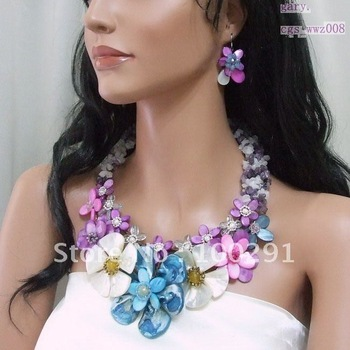 fashion colorful shell agate flower with chips gravel neckalce earring