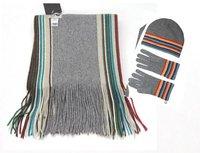 Best Christmas gift Fashion scarf,gloves hat set, striped woolen women scarf set Free shipping 1Pcs/lot