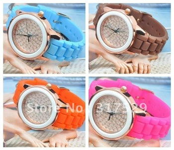 Fashion Silicon watch , quartz watch with diamond 10 colors 7pcs/lot+Free Shipping