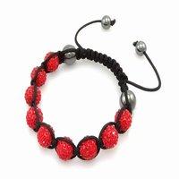 Fashion best selling newest styles Unisex Style Crystal plastic ball 10mm Shambhala Fashion Bracelet CC09