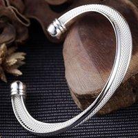 Hot!925 Sterling Silver Elegant Bevel-edge Mesh&7.5 Inches Cuff Bracelets Freeshipping