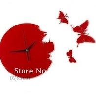 FREE SHIPPINGhot sell!genuine butterfly wall clock/High qualityart  wall clock/Mute machine core