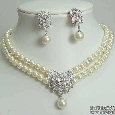 Free Shipping>>>>>Fancy Jewellery white pearl neclace earring(China (Mainland))