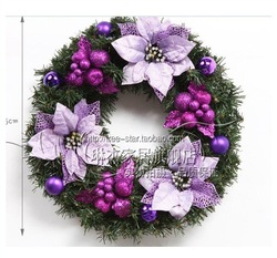 50cm purple Christmas wreath withflowers & fruits plastics Furniture adornment door adornment Holiday decorations 005(China (Mainland))