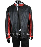 free shipping customer Logo! fashion mens leather motorbike jacket , men's leather jacket, leather bomber jacket Size:M-XXXL