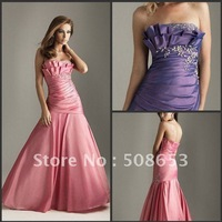wholesale sexy taffeta raffles prom dresses Handmade flowers bridesmaid Evening dresses Quinceanera Dresses