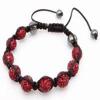 Fashion best selling newest styles Unisex Style Crystal plastic ball 10mm Shambhala Fashion Bracelet CC18