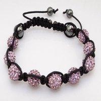 Fashion best selling newest styles Unisex Style Crystal plastic ball 10mm Shambhala Fashion Bracelet CC20