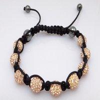 Fashion best selling newest styles Unisex Style Crystal plastic ball 10mm Shambhala Fashion Bracelet CC23