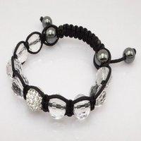 Fashion best selling newest styles Unisex Style Crystal plastic ball 10mm Shambhala Fashion Bracelet CC25