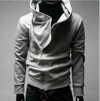 Free shipping hot sale 2011 men Korean version high-grade inclined zipper even cap cardigan coat