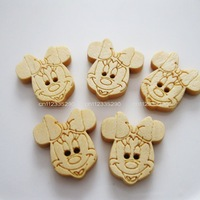 200pcs/lot cute Minnie log color wooden buttons Apparel accessory&decoration DIY work Free Shipping