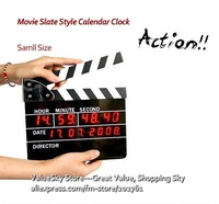 110620A-Small Director Movie Slate Style LED Clock Clapper Board Alarm Clock Date Time Tenth Second  Funny Gift Free Shipping