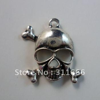 Free shipping 50 pcs/lot 29x26mm Skull Heads zinc alloy pendants charms tibetan silver