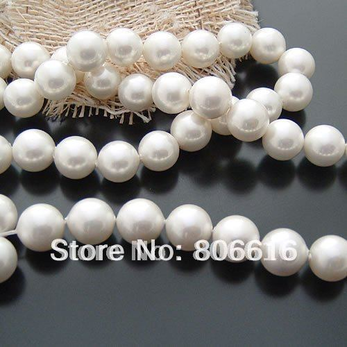 10MM (76Pcs=2strands)/Lot White Shell Pearl Strand Loose Bead Jewelry Beads Findings(China (Mainland))