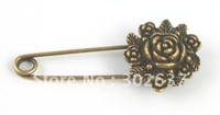 20PCS Antiqued bronze flower Safety Pin Brooch A15541B