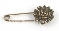 20PCS Antiqued bronze flower Safety Pin Brooch A15541B