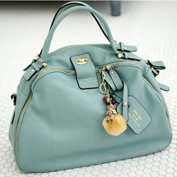 2014 New Top Genuine Leather fashion handbag 240 Degrees Zipper Ladies bags /  Size L Free Shipping
