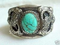 new arrive Tibet Silver Dragon Turquoise Cuff Bracelet fashion jewelry