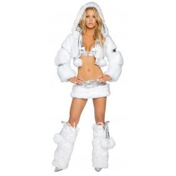 free shipping Deluxe Rave Party Wear Faux Fur Jacket with Hood + Bikini Top /w Fur Mini Skirt Clubwear(China (Mainland))