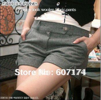 PROMOTION,Lady's Short Fashion Women Large Size Ladies Low-waist Woolen Shorts 2 colors GT0237