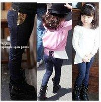 Free shipping  5pcs/lot autumn girls Jeans,girl pant, children clothes, baby leggings kids wear  fashion pants, Sequin