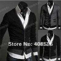 2014 New Men's Cardigan Premium Stylish Mock Pockets Knit Coat Size: M, L, XL free shipping 3389