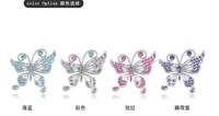 Colorful 2011 most Fashionable butterfly shape alloy brooch jewelery with crystal rhinestone 20pcs/lot free shipping