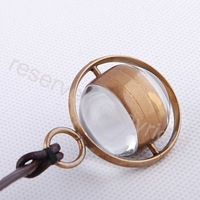 Antique Style Bronze Case Lady Glass Ball Mechanical Pocket Watch Leather Strap H125