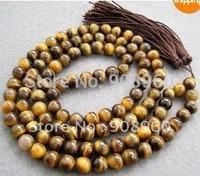 handmade 8 mm 108 Tiger Eye Beads Buddhist Prayer Mala Necklace fashion jewelry #3