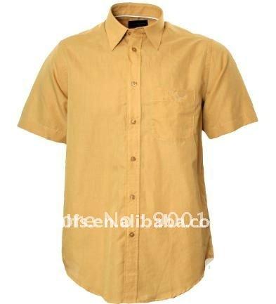 mens short sleeve beige shirt(China (Mainland))