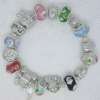 Wholesale! Tibet Silver Lampwork Beads Charms Bracelet PB47 Free Shipping world wide