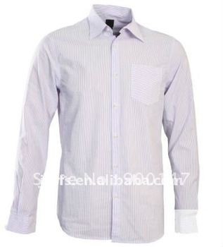 men's new style blue long sleeve stripe dress shirt