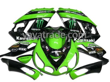 For Kawasaki ZX 14R 06-09 good Quality ABS Motorcycle Fairings/fairing kit/bodykits/body fairing/bodywork green/black