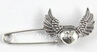 20PCS Tibetan silver heart wing Safety Pin Brooch A15546