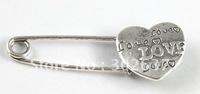 20PCS Tibetan silver LOVE heart Safety Pin Brooch A15551